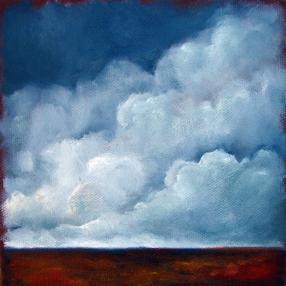 Original oil painting dark sky thunderstorm clouds landscape - Stormscape series thirtyone