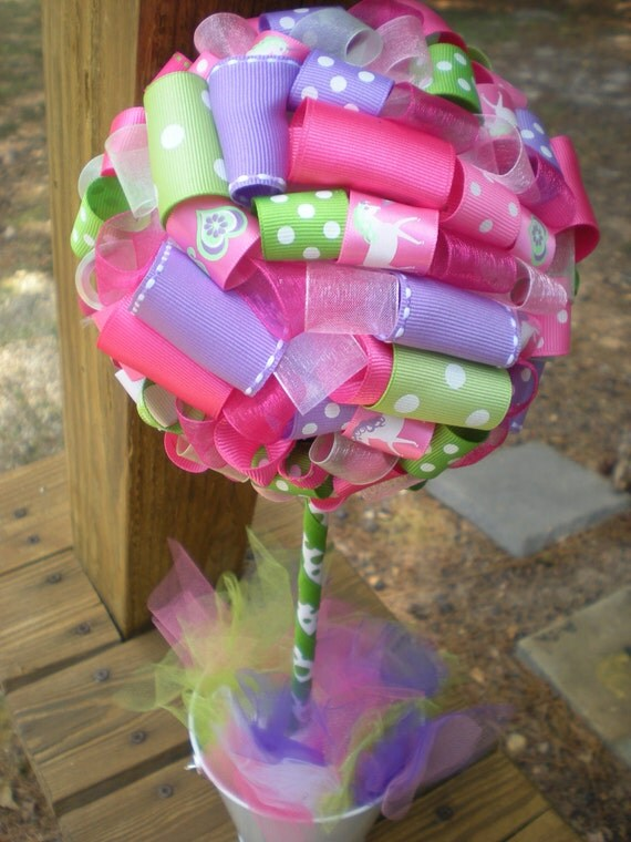 Items similar to ribbon topiary in pink purple green