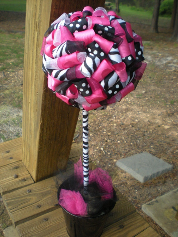 Items Similar To Ribbon Topiary In Zebra Hot Pink Black