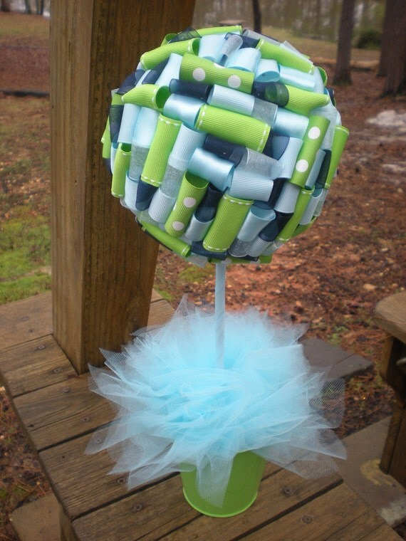 Items Similar To Ribbon Topiary In Lime Green Light Blue