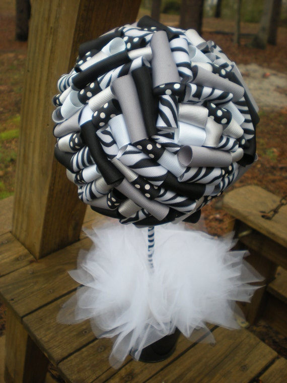 Items similar to ribbon topiary in black silver white centerpiece decoration for party - Black silver and white party decorations ...