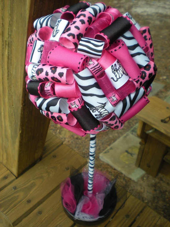 Ribbon Topiary in Zebra, Pink, Black featuring Zoo Animals Party/Shower Centerpiece/Decoration: Small Size