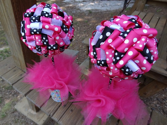 Items similar to ribbon topiary in hot pink black white for Black and white polka dot decorations