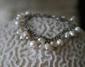 Vintage 1980s Uniquely-Shaped Pearl Charm Bracelet