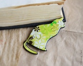 Lemon cat brooch - animalistic brooch with pattern. Lemon green, Yellow, Flowers, Light, Gift, Fashion
