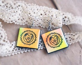 Hand drawn Heart in frill double-faced earrings - Watercolor jewelry. Variegated, lace, yellow, orange, heart, flower, Valentine, Love