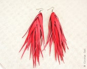 Spirit of Fire - Leather long fringes earrings in red. Autumn jewelry, Christmas jewelry, eco jewelry, boho earrings, tribal jewelry
