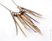 Autumn kiss - Leather necklace with pearl beads in brown palette. Bohemian style