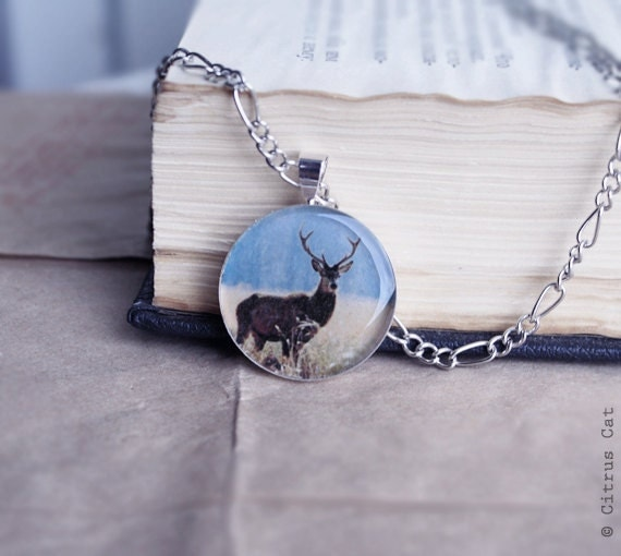 Deer necklace - Woodland jewelry. Fall, Autumn, Forest, Animal, Stag. Horn, Rustic