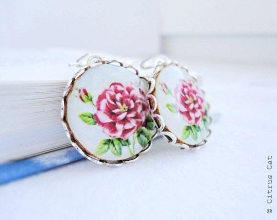 Vintage pink rose earrings