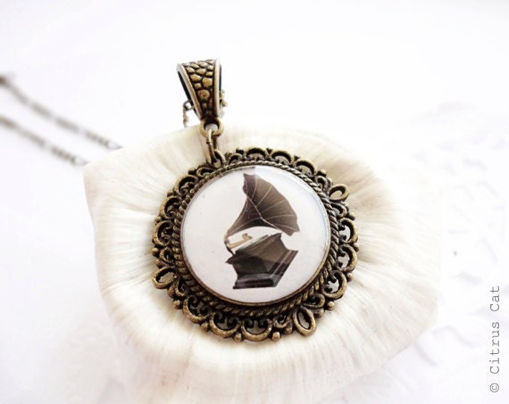 SALE - Vintage gramophone necklace - music jewelry