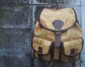 vintage world map backpack rucksack 80s