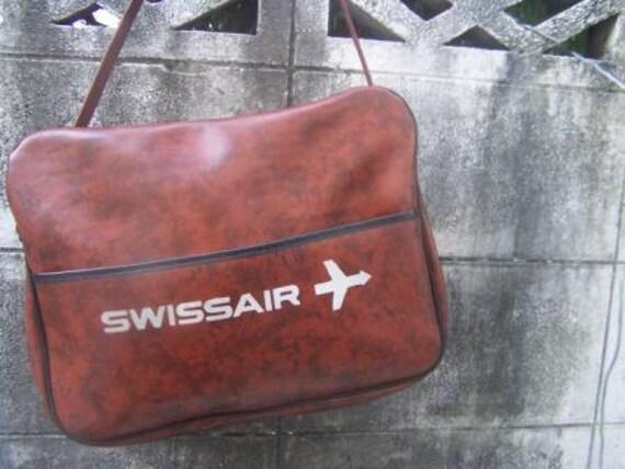 SALE...vintage  airline swissair  travel  messenger  bag