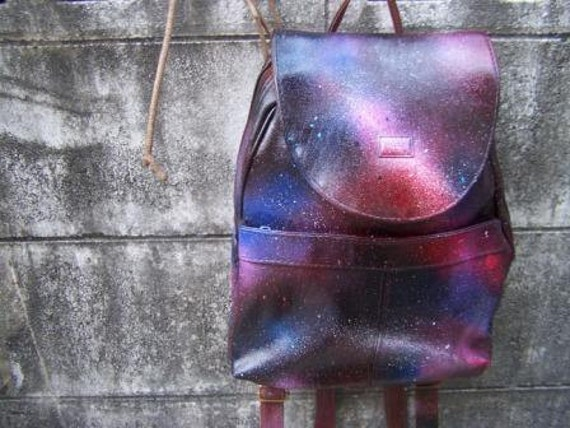 vintage backpack faux leather with GALAXY painted