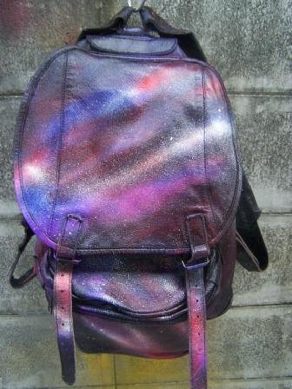vintage backpack real  leather with galaxy painted