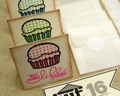 Cupcakes- Assorted Flavors Great as Thank You's or a quick Hello (4 Mini Cards // 4 Envelopes // 4 Seals)