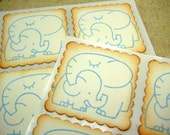 Elephant Baby Stickers ... Mama Elephant // Baby combo- Boy (set of 12) Shower Stickers Birthday Envelope Seals