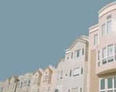 In Bluer Skies - Mid Century Modern Inspired Photo, Retro Pastel Blue Pink, Modern Architecture Wall Decor, Beach House Decor