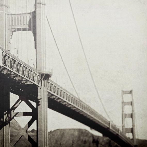 Golden Gate Bridge, Fort Point, San Francisco Photo Art, Vintage Inspired Wall Decor, Modern Architecture, Neutral Beige