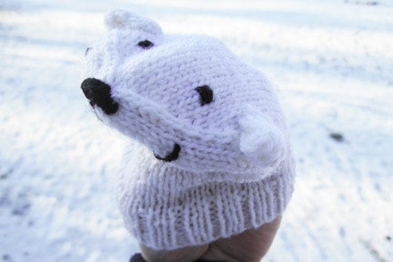 ICE BEAR puppet knitting pattern, toddler toy knitting pattern, educational toy, sensory toy, toddler learning toy, handmade toy