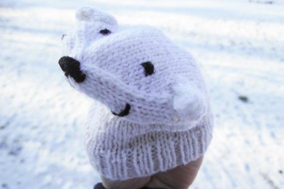 Icebear handpuppet knitting pattern PDF