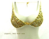 SALE, knitted, golden yellow lingerie, handmade,  luxury ribbon ,size S, bra and g strings, perfect Christmas gift for her