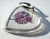 "Art key chain, heart shaped, photo keychain abstract art ""Thistle"""