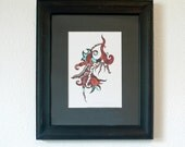 "Original pen and ink drawing, frame included, red black and turquoise design ""Fire And Ice"" - ablazeincolor"