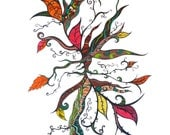"Colorful abstract art print leaves and swirling tendrils and branches  ""Autumn Leaves"""