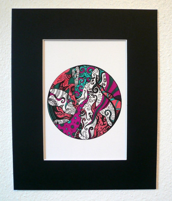 """Original abstract pen and ink drawing, circle, pink, green and black  """"Tangled Sphere"""""""