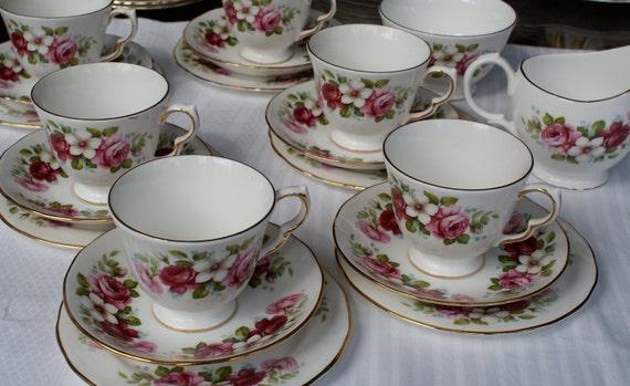 20 piece Queen Anne english china tea set