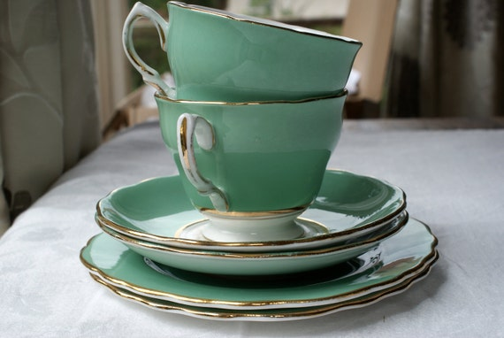 Green and gold Colclough english china trio.
