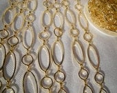 1m (3ft) of Golden Tone large link Chain, round & oval links, 10mm x 10-25mm long