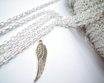 1m (3.3 ft) Silver tone chain, 4x3mm, silver color metal chain, cross chain