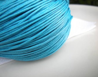 Turquoise cotton wax cord, 1mm, 5m (16 ft)