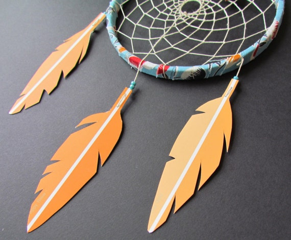 Dream Catcher - Sunny Day -  orange - blue - red -  upcycled paper feathers - modern - vegan - nursery decor - mobile
