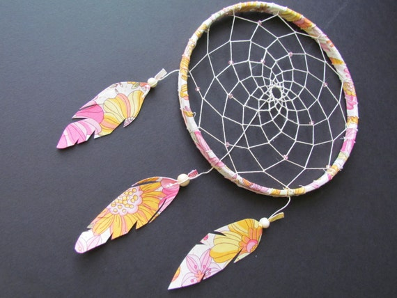 "Dream Catcher- ""Be Mine""- 7 inch hoop- fabric feathers- pink yellow orange and green"