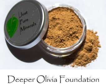Olivia - Deeper Olivia Vegan Foundation - Always Vegan and Cruelty-Free- 9g product in a 30g sifter jar