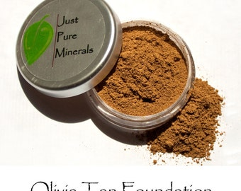 Olivia Tan Vegan Foundation - Always Vegan and Cruelty-Free- 9g product in a 30g sifter jar