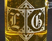 Personalized Beer Stein, Monogrammed Beer Mug, Etched Glass