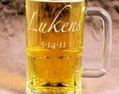 Personalized Beer Mug, Etched Glass Beer Mug