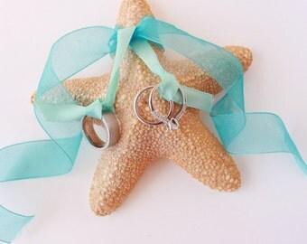 Starfish Ring Bearer Pillow with Ribbon- Beach Wedding