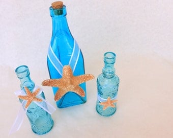 Aqua and Teal Beach Wedding Bottles