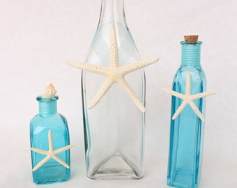 Glass Bottles with Starfish- Turquoise and White, Sea Glass
