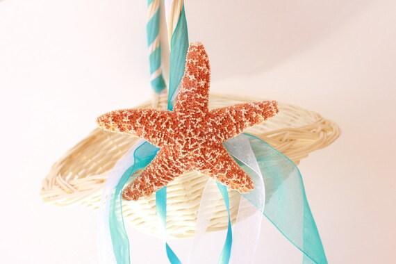 Beach Wedding Flower Girl Basket with Starfish