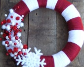 "15"" Christmas Candy Cane wreath with snowflake"