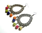 Summer Time, earrings - aged bronze and velvet beads in several colors