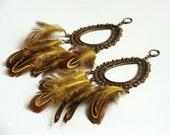 Chic Earrings - Feathers in Ocher Color