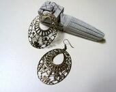 Filigree Oval Earrings - aged filigree bronze