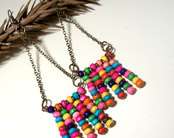 Caribbean Earrings - aged bronze chain with colored wood beads